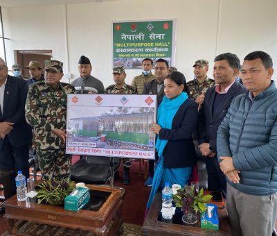 नेपाली सेनाद्धारा निर्मित बहुउद्येश्यीय हल भरतपुर महानगरपालिकालाई हस्तान्तरण